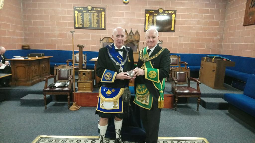 December 2018,  RWM Bro Ronnie Palmer with the PGM Bro James Campbell Peddie.
